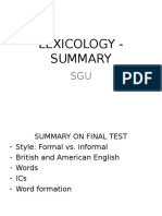 Lexicology - Summary