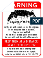 Albany, NY Coyote Warning signs