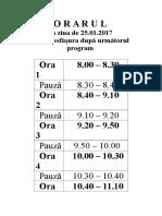 Programul Zilei de 25 Ianuarie 2017