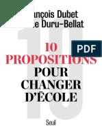 10 Propositions Pour Changer d'École - Seuil