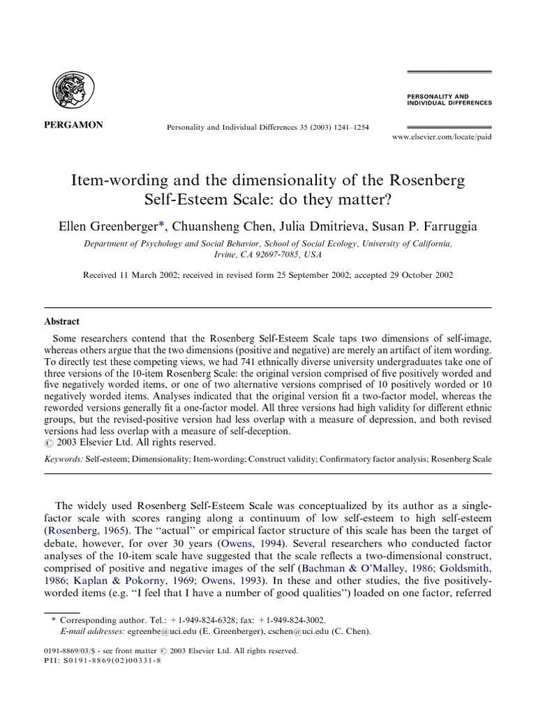 Scala De Stima Rosenberg Self Esteem Validity Statistics