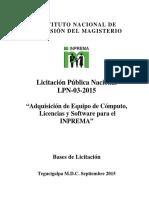 Bases Licitacion Publica Nacional Inprema Lpn-03-2015