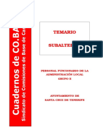 Subalterno - Administración Local (Santa Cruz de Tenerife) - Temario de Oposiciones - Co.bas - 2006