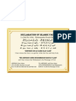 Declaration Of Islamic Faith