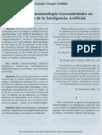 Psicología y Fenomenología Trascendentales en El Proyecto de La Inteligencia Artificial