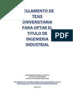 Reglamento de Tesis Universitaria Para Optar El Titulo de Ingenieria Industrial