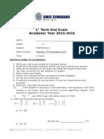 Grade 9 MATHS Term End Exam 1