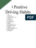 20 Positive Driving Habits