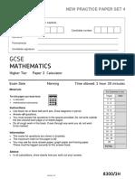 AQA GCSE Mathematics-Unit 3H-Practice Paper Set 4-V1.1