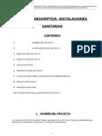 Memoria descriptiva Instalaciones Sanitarias Colegio Bonifaz - Abancay Peru