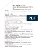 The Importance of Your CV