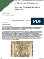 Chavín de Huántar en Las Crónicas Coloniales y Relatos de Viaje