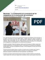 """Gerardo Learmonth - Menéndez- """"Lo Fundamental Es La Consciencia de Los Trabajadores en La Construcción Del Socialismo"""""""