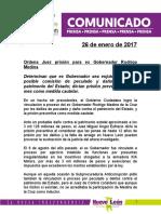 BOL Ordena Juez prisión para ex Gobernador Rodrigo Medina