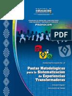 UF16 Pautas Metodológicas Para La Sistematización de Experiencias Transformadoras