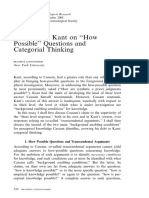 Cassam and Kant on How Possible Questions and Categorial Synthesis (B. Longuenesse)