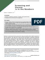 Metabolic Screening and Postnatal Glucose Homeostasis in the Newborn