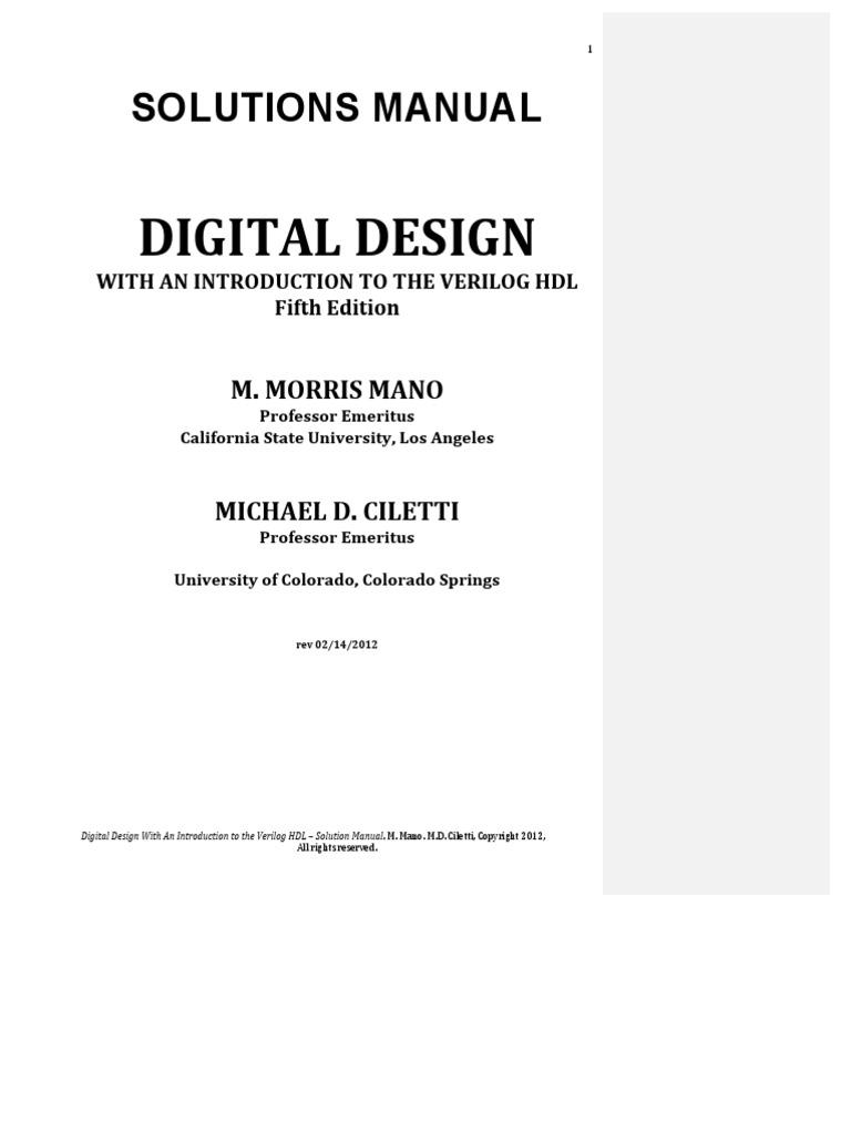 digital design 5th edition mano solution manual pdf rh scribd com digital design mano 5th edition solution manual digital design morris mano 4th edition solution manual pdf
