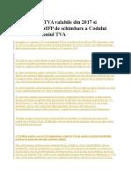 Modificarile TVA Valabile Din 2017 Si Propunerile MFP de Schimbare a Codului Fiscal in Domeniul TVA