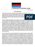 NDM Statement on the UNSC Meeting Pertaining to the Situation in South Sudan.