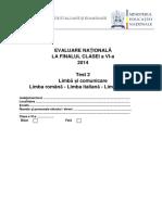 En VI 2014 Limba Comunicare Test 2 Italiana Materna RO IT En
