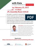 Jonathon Morgan - Text Analytics Flyer