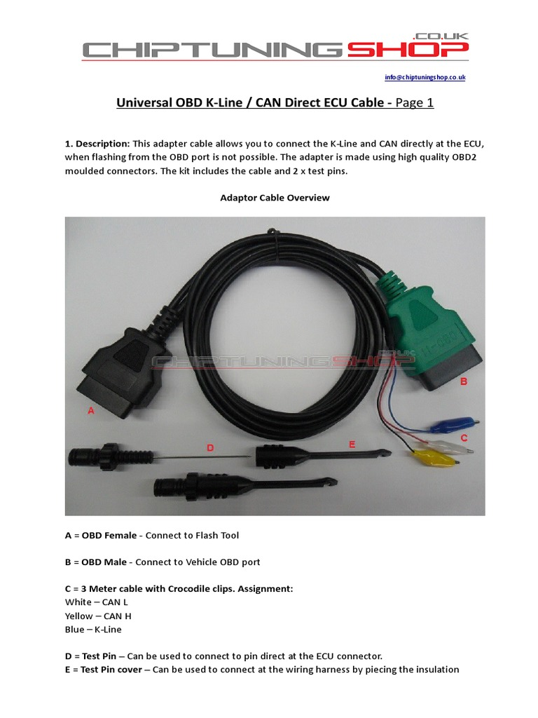 CTS OBD K-Line CAN Direct ECU Cable Manual