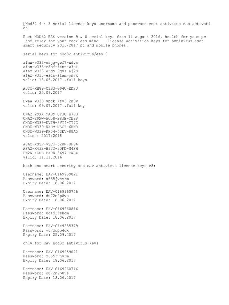nod32 64 bit serial key