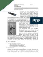 Worksheet. Chapter 01. Microscope