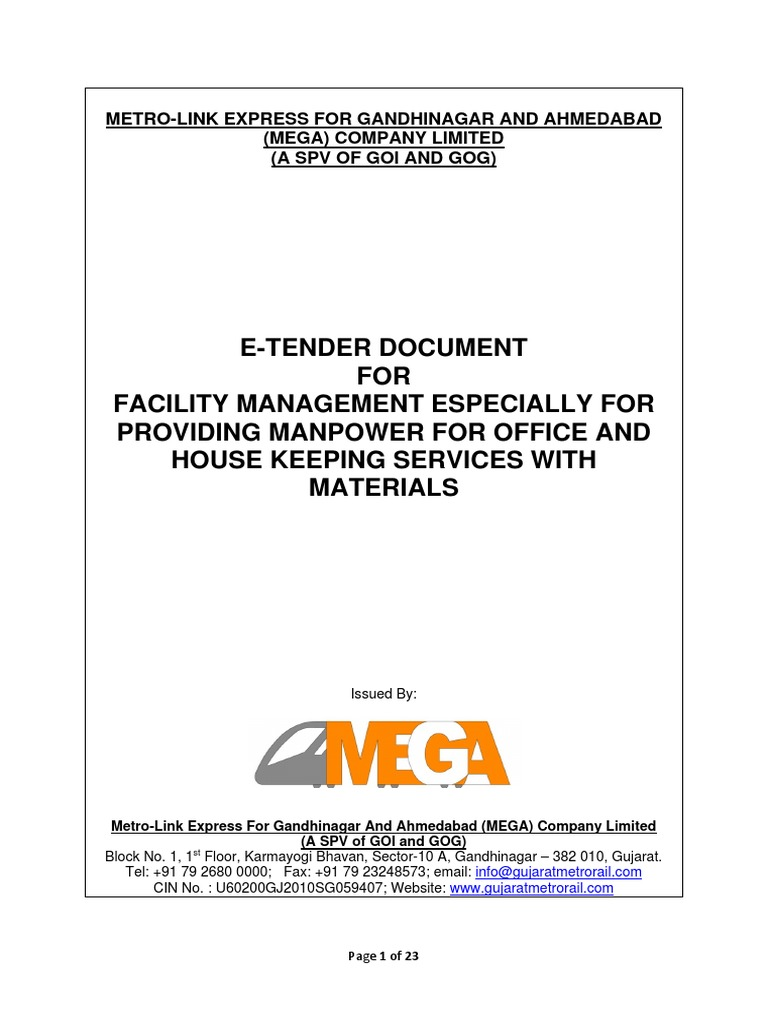 MEGA Facility Management Tender | Housekeeping | Employment