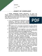 Affidavit Complaint Pearl Marjorie