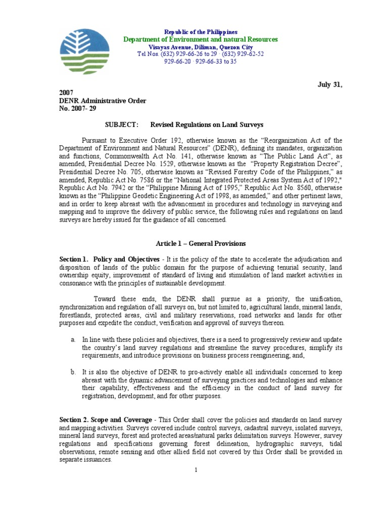 Department Of Environment And Natural Resources Administrative Order No