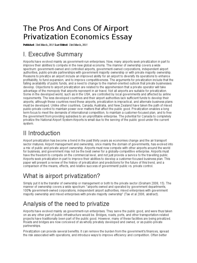 the pros and cons of airport privatization essay privatization the pros and cons of airport privatization essay privatization airport