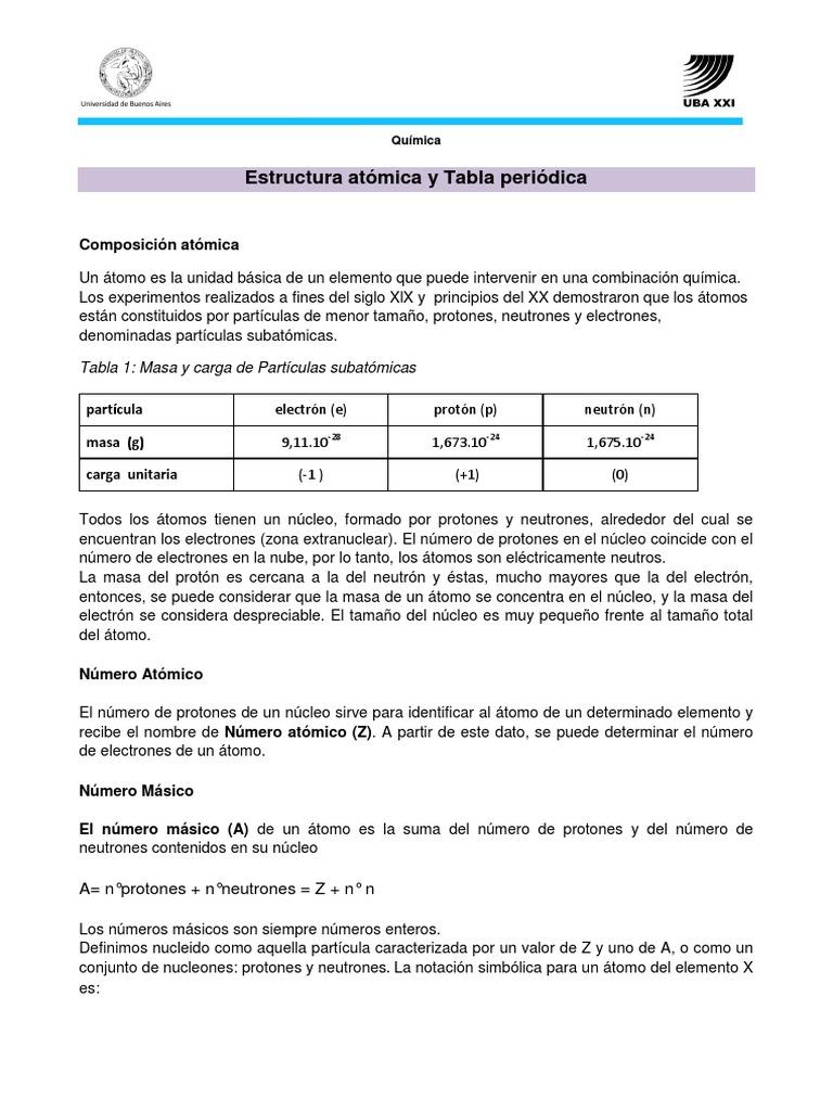 estructura atmica y tabla peridica 1 - Tabla Periodica Y Estructura Atomica