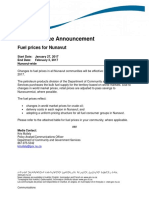 New Nunavut Fuel Price Table