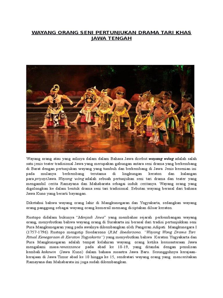 Wayang Orang Seni Pertunjukan Drama Tari Khas Jawa Tengah Docx