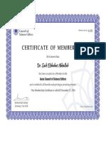 Membership Certificate ACSE2016