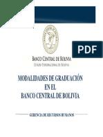 Modalidades de Graduacion en El Bcb - Areas Economicas