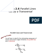 Lesson 2.6 Parallel Lines and Transversals