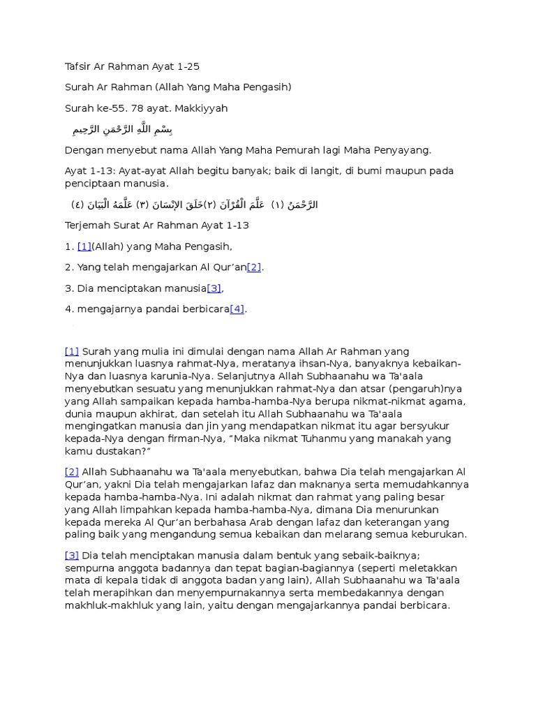Tafsir Ar Rahman Ayat 1