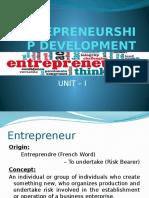 Entrepreneurship Development - Unit-i
