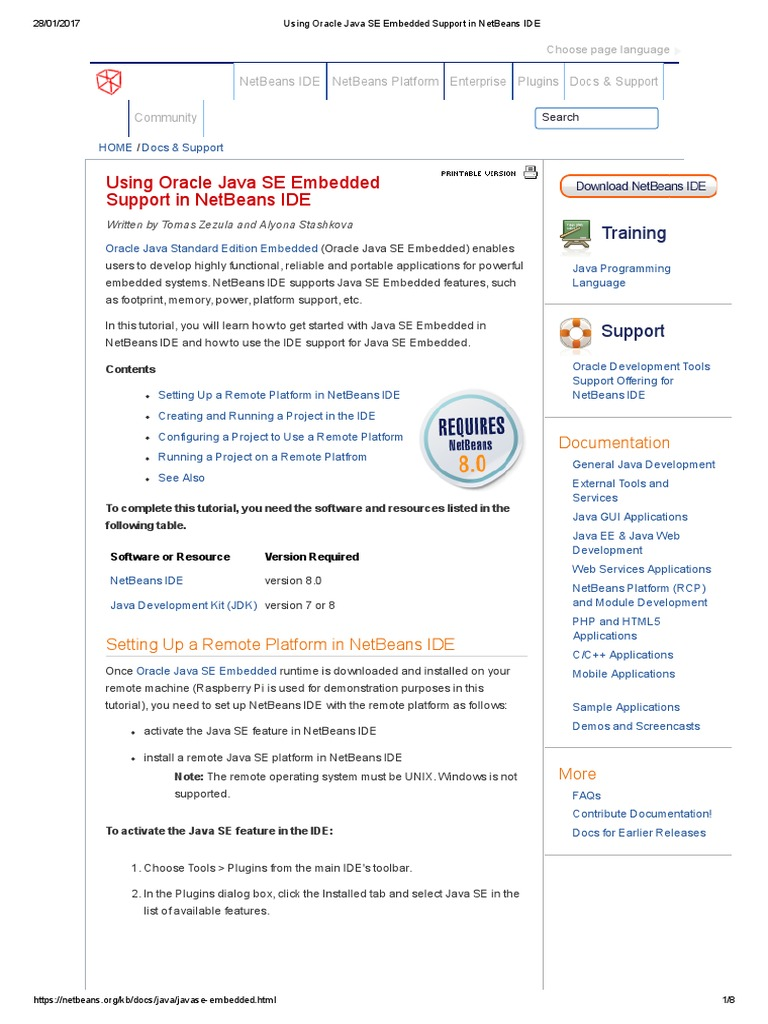 Using Oracle Java SE Embedded Support in NetBeans IDE | Net Beans | Java  (Software Platform)