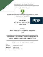 THÈME Evaluation Opération Du Tubage Et Cimentation de La Phase 812 à Hassi-Bekra (Cas Du PuitsOML72BIS)