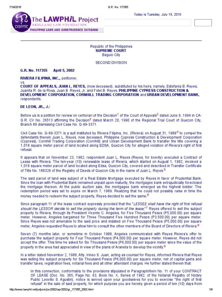Riviera Filipina, Inc. v. CA   Lease   Certiorari   Free ...