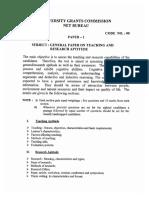 UGC Paper One Syllabus