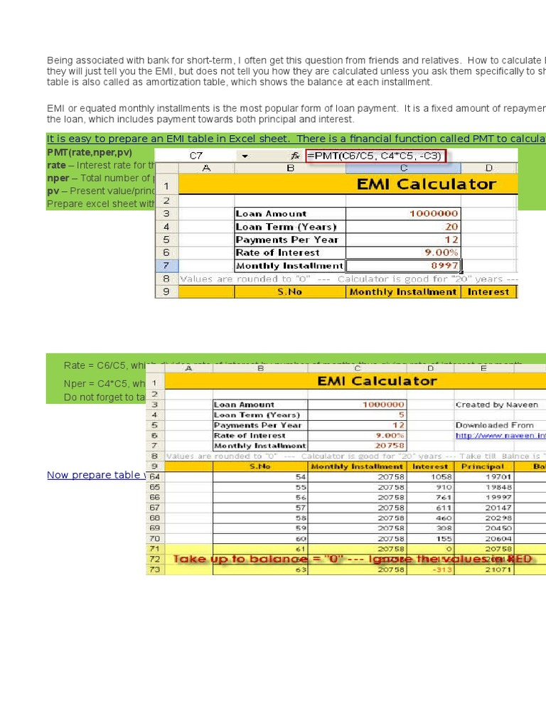 emi calculator time value of money discounting