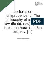 Austin, John, Lectures on Jurisprudence, 1885