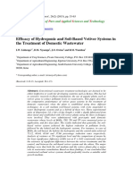 Efficacy of Hydroponic and Soil-Based Vetiver Systems in the Treatment of Domestic Wastewater