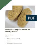 Croquetas Vegetarianas de Arroz y Ricota