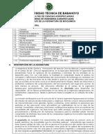 Silabo de Bioquimica Uno- Nivel III-A , Agropecuaria 2016 Sept